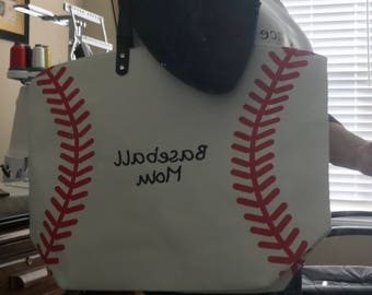 Personalized Sports mom tote bag