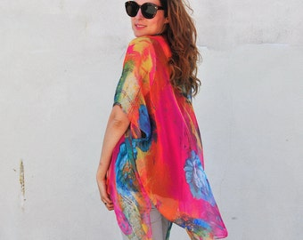 Sheer Kimono: Pink, Orange and Blue Floral Sheer Kimono Bathing Suit Cover Up