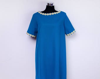 A-line dress - Vintage 60s dress - 60s turquoise dress - cotton dress - loose dress for women - party dress -gift for her