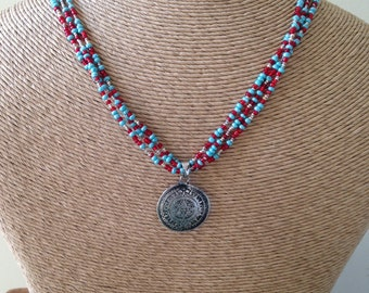 Seed Bead Necklace, Southwestern Style, Red, Silver, Blue, Gold, Mayan Calendar Pendant, Pendant Necklace, Unique Necklace