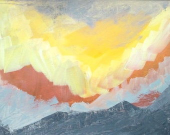 Abstract landscape painting, sunset painting, abstract mountain painting, sunny sky painting