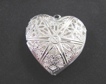 Heart Locket necklace silver 2.8 cm x 2.5 cm - made gift AFELP Association