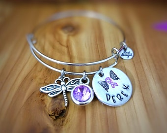 Pancreatic Cancer Awareness Bracelet, Cancer Awareness, Purple Ribbon Jewelry, Crohns Disease Awareness, Domestic Violence Awareness