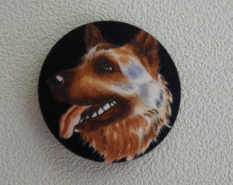 One large German Shepherd fabric covered button size 75