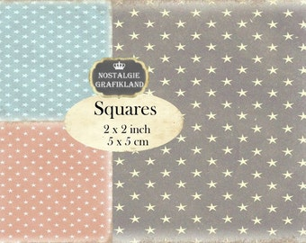 Stars Background Shabby Chic Squares 2x2 inch squares Instant Download digital collage sheet TW108 christmas