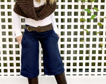 Navy Blue Wide Leg Gaucho Pants~Low Rise Pant~Women's Pants~Retro Pants~Culottes~Trouser Pockets~Cotton Pants~Navy Pants~Capris~Women Shorts