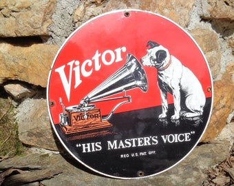 "Original Vintage Nipper ""His Master's Voice"" Porcelain Logo"