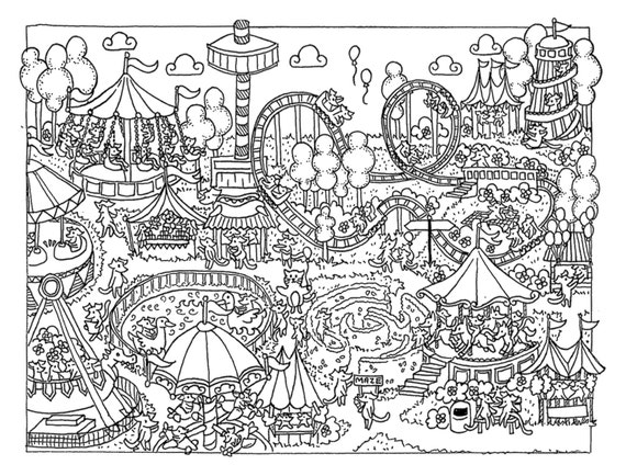 Items similar to Fun At the Fair Colouring Page DOWNLOAD on Etsy