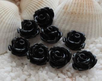 Resin Rose Flower Cabochon -  10mm - 50 pcs - Black