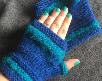 Two blue large handwarmers size mittens