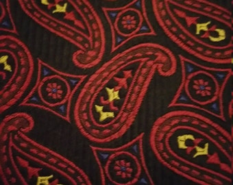 Bocara Black with Red and Yellow Paisley Print Necktie NWT