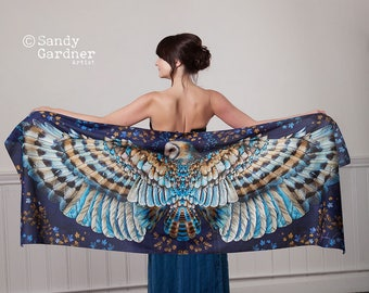 Owl Scarf, Barn Owl shawl, gift for her, owl present, sarong, bird scarf, wing scarf, feather scarf, mothers day, owl shawl, owl gift