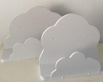 Nursery cloud shelf x 2 shelves painted Farrow and Ball Dimpse 2 sizes 48cms and 35.5cms new