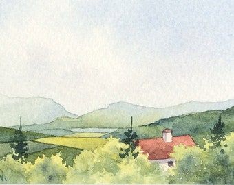 Original watercolor ACEO painting - Italian hideout