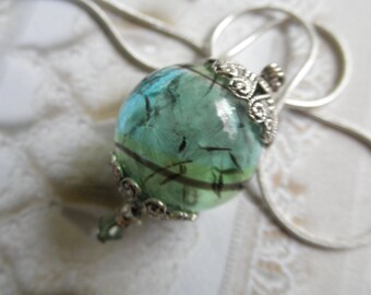 Dandelion Seed Heaven & Earth Spiritual Ombre Blue-Green Terrarium Reliquary Pendant-Make A Wish-Gifts Under 35-Symbolizes Happiness