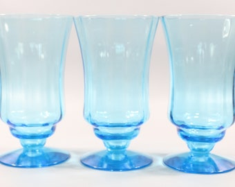 Vintage Aqua Goblet Glasses (3) | Vintage Pale Turquoise Beverage Glasses, Set of Three