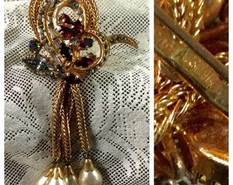 Stunning Signed Austria Rhinestone Faux Pearl Dangling Drop Brooch 1940's 1950'sGold Tone Chain Metal Swirled Circles Red Flower Basket PL