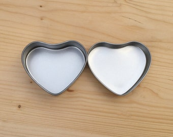 Heart Shape Tins, Blank Organizer In Silver Color, 50ml Jewelry Box, DIY Packing (6 Tins)