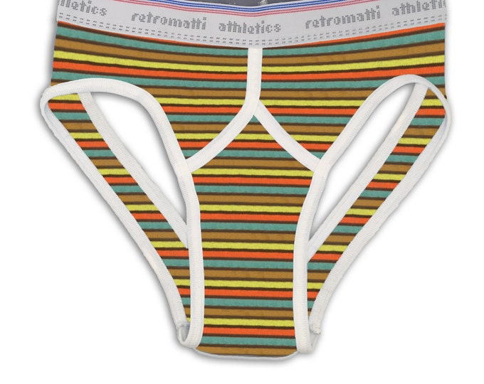 Retro jock briefs in brown, lime, orange & blue stripes