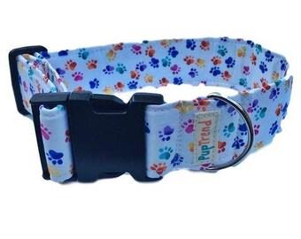 CLEARANCE! 50% OFF! Rainbow Paw Print Designer Dog Collar//Summer Dog Collar//Gifts Under 30