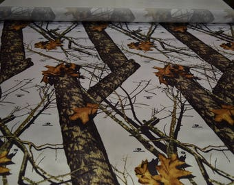 "Mossy Oak Breakup Winter Bridal Satin Fabric Hunting Camouflage 60"" Wide By The Yard 36"" Long"
