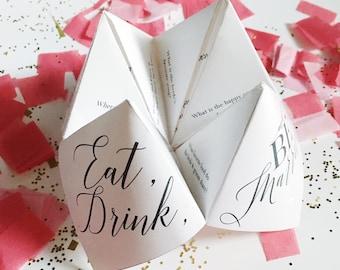 Printable Wedding Program/Menu/Escort Card - Cootie Catcher/Fortune Teller  - Kraft Wedding Program -Escort Cards - Wedding Menu Template