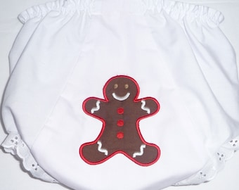 Appliqued diaper cover/bloomer with gingerbread cookie