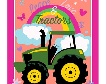John Deere Fabric Panel Peace Love and Tractors From Springs Creative By the Panel