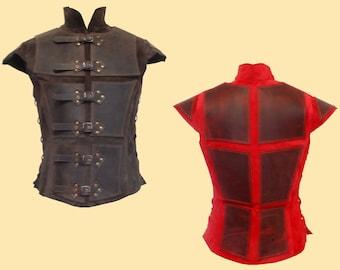 Reinforced jerkin for men made of leather, Larp, Fantasy