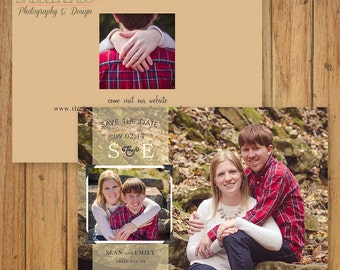 Neutral gold and navy rustic banner 3 photo Save the Date