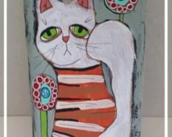 Original Folk Art Painting,Folk Art Cat,Wood Block Painting,Primitive Painting, FAAP,Home Decor, Whimsical,HAFAIR,Artful Zeal