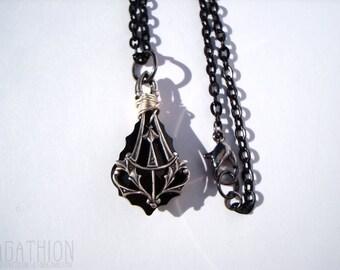 Black Caged Crystal Necklace framed baroque jet black Swarovski elements crystal pendant necklace art nouveau caged pendant
