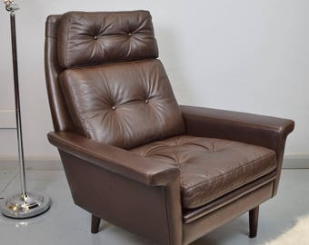 Mid Century Danish Retro Brown Leather Lounge / Armchair by Hans Olsen 1960s