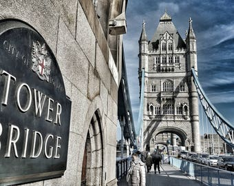 London Walking on Tower Bridge-printable photography download Instant download Wall Art Photography