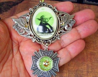 Councilman Yoda Medal (P800) Steampunked Yoda Image Under Glass, Silver Framework and Wings, Swarovski Crystals, Tie Tack Pin Backing
