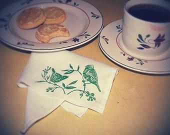 Adorable Handmade Bird Stamped Cotton Handkerchief