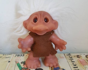 Vintage Kitsch Dam Troll white hair brown felt tunic mini doll  fairy magical nursery decor retro  vintage toys Brian Froud