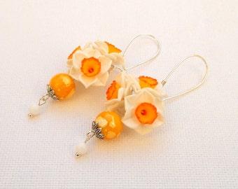 Narcissus - Flower earrings - Dangle earrings - Spring earrings - Handmade polymer earrings - MADE TO ORDER