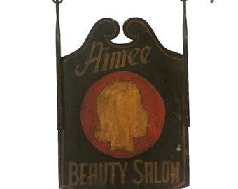 Original Metal Hand Painted Trade Sign - Aimee Beauty Salon