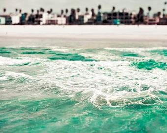 Malibu Beach, Ocean Photography, Travel Gift, Turquoise, Blue Green, Teal, Vertical, Beach House Decor, California Print