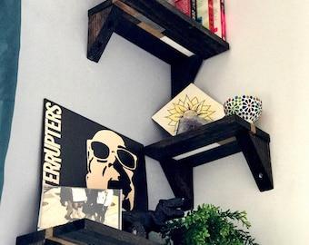 Stacked Corner Shelves // Set of 3 with Brackets // Corner Shelving // Rustic // Modern // Reclaimed Wood