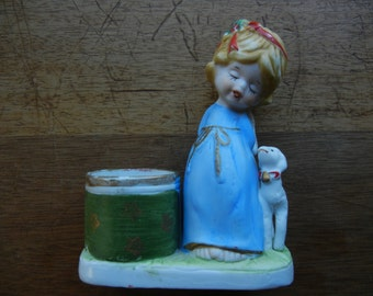 Little Luvkins Angel and Lamb Candle Holder ~ 1976