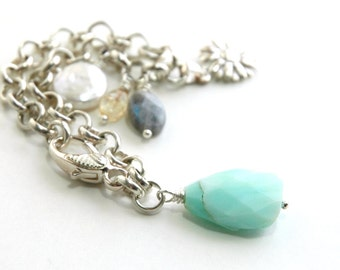Sterling silver chain bracelet, Charm Bracelet, Blue Peruvian Opal, Gemstone bracelet,  Gift for her, Labradorite, Freshwater pearl, Jewelry