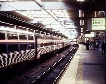 City train Photograph penn central nj rr market street perspective railroad red blue stripes yellow - A ticket to ride - fine art photograph