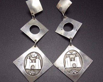 Signed ALARID Vintage SOUTHWESTERN Sterling Silver Earrings Long Dangle MISSION