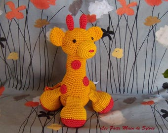 Red and yellow giraffe crochet