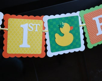 Rubber Duck Birthday Banner, Happy 1st Birthday banner, Rubber Duck Birthday Party, Duck Theme, Shamrock, Yellow, Lime Orange