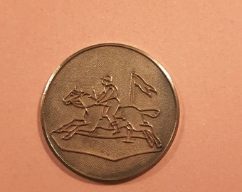 Early 1900's Champleve horse and jockey button.
