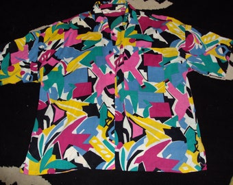 vintage womens 1980s abstract art blouse