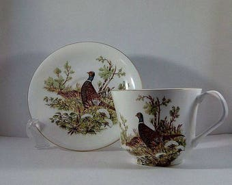 Elizabethan Staffordshire Pheasant Teacup and Saucer Set, Large Vintage Fine Bone China Pheasant Teacup and Saucer